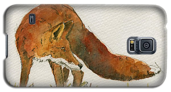 Orange Galaxy S5 Case - Watching Red Fox by Juan  Bosco