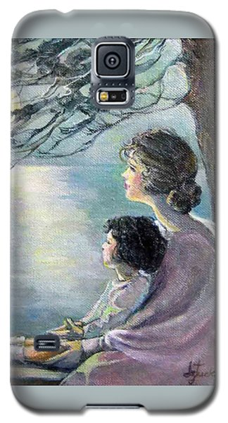 Galaxy S5 Case featuring the painting Watching The Moon by Donna Tucker