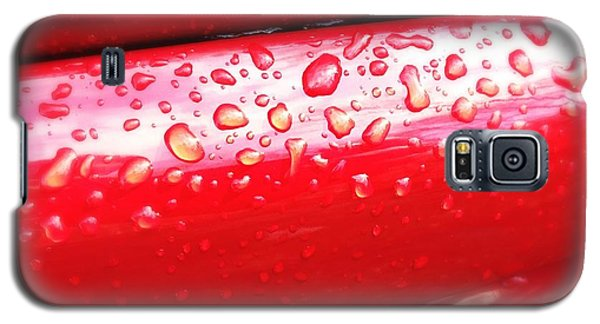 Detail Galaxy S5 Case - Water Drops On Red Car Paint by Matthias Hauser