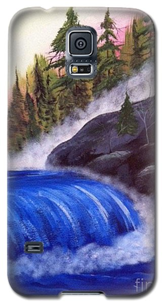 Galaxy S5 Case featuring the painting Water Fall By Rocks by Brenda Brown