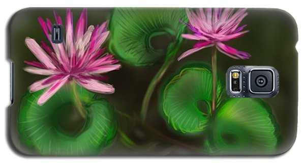 Galaxy S5 Case featuring the digital art Water Lilies by Christine Fournier