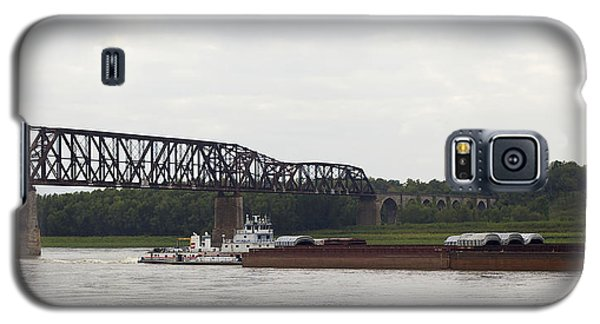 Galaxy S5 Case featuring the photograph Water Under The Bridge - Towboat On The Mississippi by Jane Eleanor Nicholas