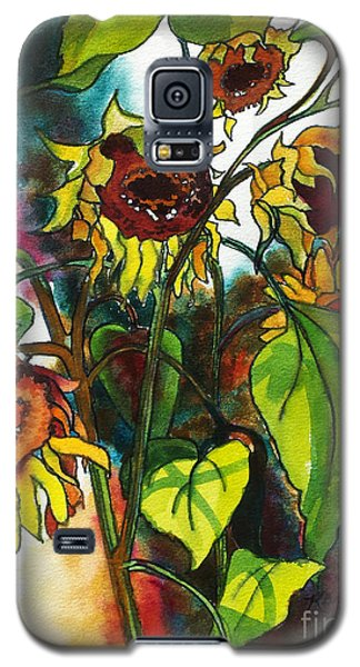Galaxy S5 Case featuring the painting Sunflowers On The Rise by Kathy Braud