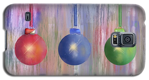 Galaxy S5 Case featuring the digital art Watercolor Christmas Bulbs by Arline Wagner