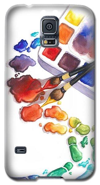 Watercolor Galaxy S5 Case - Watercolor Footprints by Conni  Reinecke
