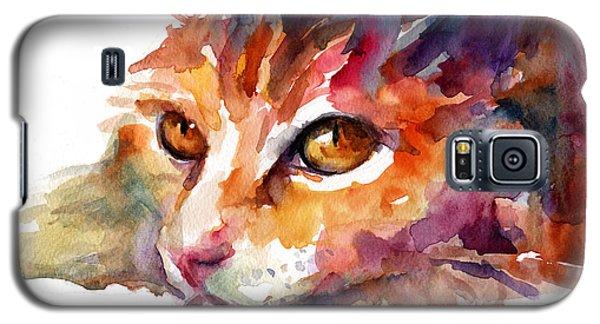 Watercolor Orange Tubby Cat Galaxy S5 Case