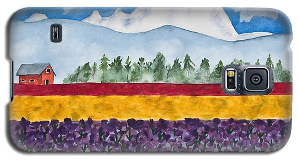Watercolor Painting Landscape Of Skagit Valley Tulip Fields Art Galaxy S5 Case