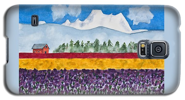 Watercolor Painting Landscape Of Skagit Valley Tulip Fields Art Galaxy S5 Case