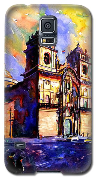 Watercolor Painting Of Church On The Plaza De Armas Cusco Peru Galaxy S5 Case