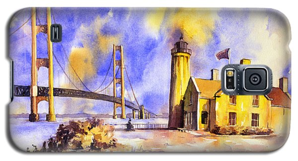 Watercolor Painting Of Ligthouse On Mackinaw Island- Michigan Galaxy S5 Case