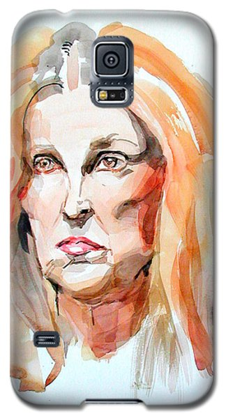 Galaxy S5 Case featuring the painting Watercolor Portrait Of A Mad Redhead by Greta Corens