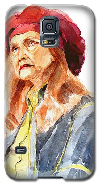 Galaxy S5 Case featuring the painting Watercolor Portrait Of An Old Lady by Greta Corens