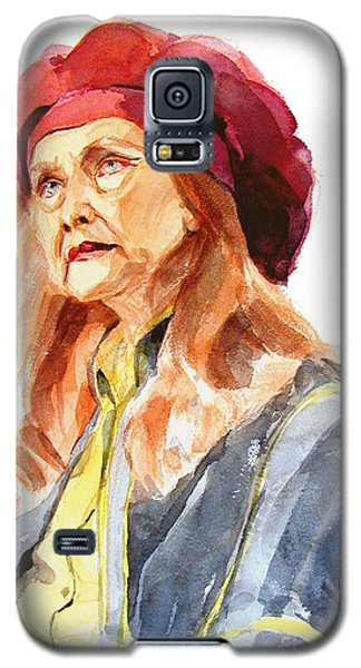 Watercolor Portrait Of An Old Lady Galaxy S5 Case by Greta Corens