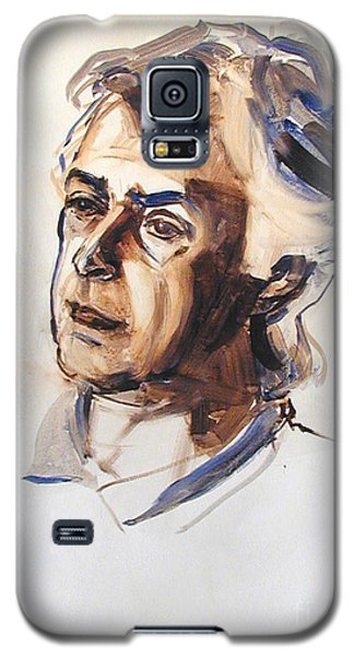 Galaxy S5 Case featuring the painting Watercolor Portrait Sketch Of A Man In Monochrome by Greta Corens
