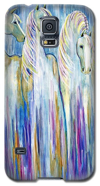 Galaxy S5 Case featuring the painting Waterfall Abstract Horses by Jennifer Godshalk