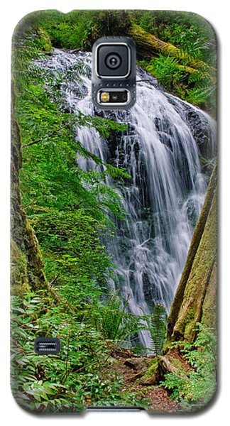 Waterfall And Green Vegetation Framed By Trees Galaxy S5 Case by Jeff Goulden