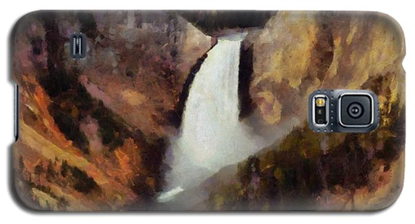 Galaxy S5 Case featuring the painting Waterfall At Yellowstone National Park by Kai Saarto