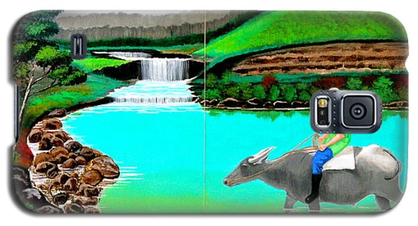 Galaxy S5 Case featuring the painting Waterfalls And Man Riding A Carabao by Cyril Maza
