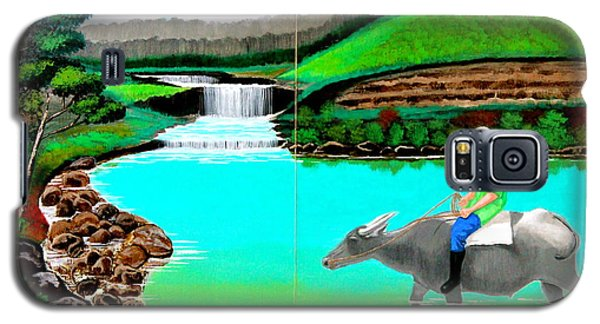 Waterfalls And Man Riding A Carabao Galaxy S5 Case
