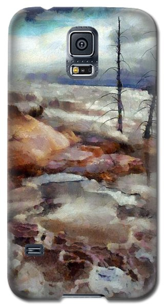 Galaxy S5 Case featuring the digital art Waterfalls At Yellowstone by Kai Saarto