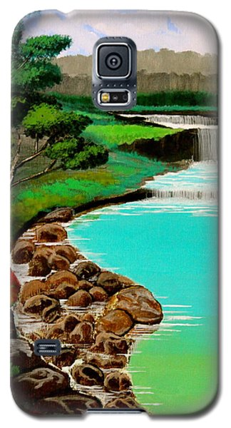 Galaxy S5 Case featuring the painting Waterfalls by Cyril Maza