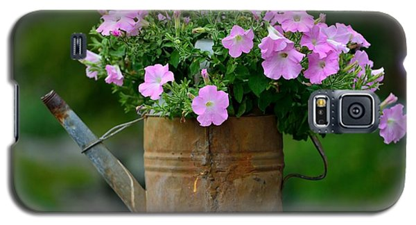 Galaxy S5 Case featuring the photograph Watering Can And Flowers by Kathy King