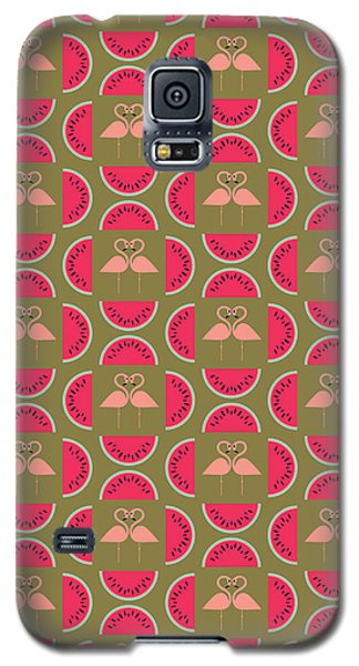 Watermelon Galaxy S5 Case - Watermelon Flamingo Print by Susan Claire