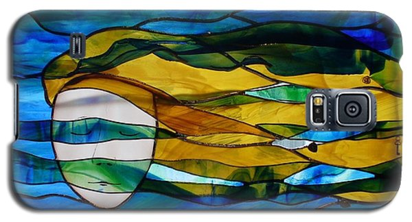 Galaxy S5 Case featuring the glass art Waves Of His Mercy by Karin Thue