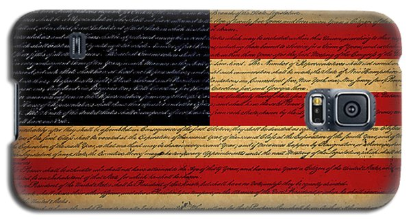 We The People - The Us Constitution With Flag - Square Galaxy S5 Case