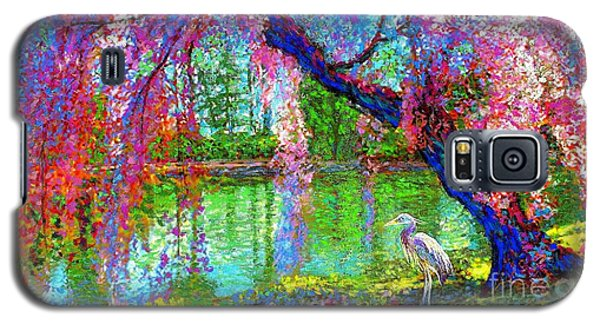 Weeping Beauty, Cherry Blossom Tree And Heron Galaxy S5 Case
