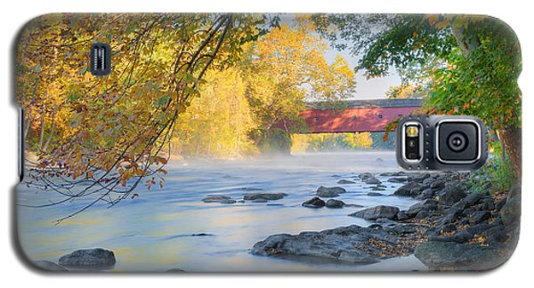 Galaxy S5 Case featuring the photograph West Cornwall Covered Bridge Autumn by Bill Wakeley