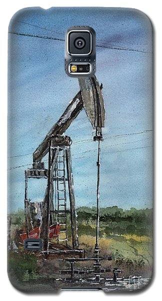 Galaxy S5 Case featuring the painting West Texas Pumpjack by Tim Oliver