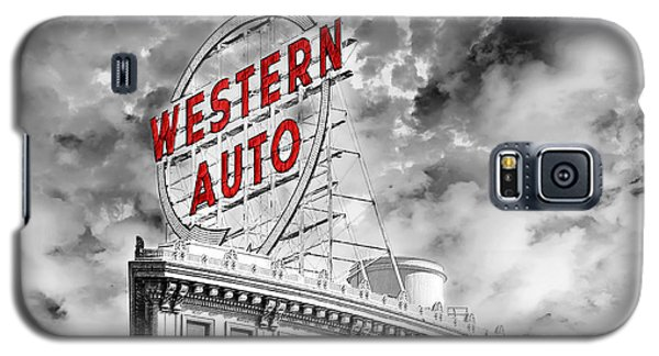 Western Auto Sign Downtown Kansas City B W Galaxy S5 Case