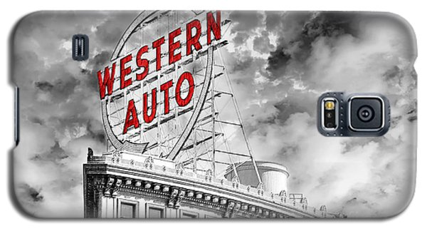 Western Auto Sign Downtown Kansas City B W Galaxy S5 Case