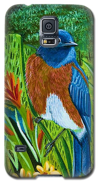 Galaxy S5 Case featuring the painting Western Bluebird by Jennifer Lake