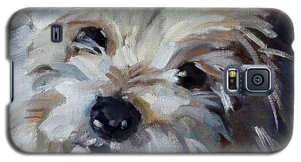 Galaxy S5 Case featuring the painting Westie Mix by Pattie Wall