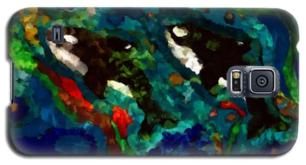 Whales At Sea - Orcas - Abstract Ink Painting Galaxy S5 Case