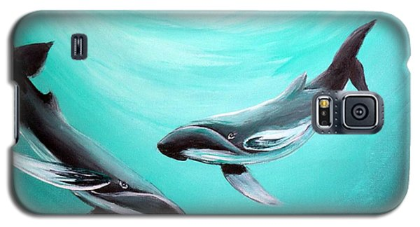 Galaxy S5 Case featuring the painting Whales by Bernadette Krupa