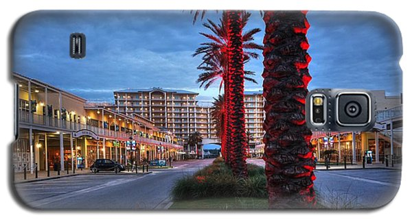 Wharf Red Lighted Trees Galaxy S5 Case by Michael Thomas