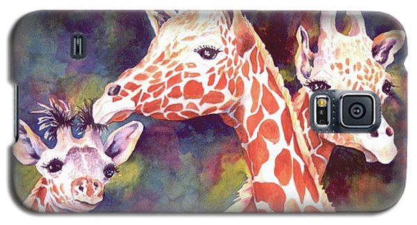 Galaxy S5 Case featuring the painting What's Up Dad - Giraffes by Roxanne Tobaison