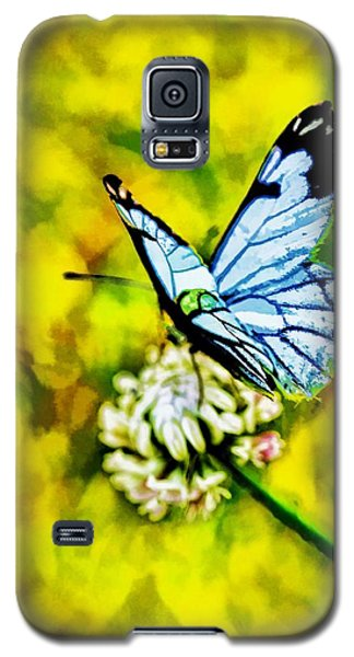 Galaxy S5 Case featuring the painting Whimsical Butterfly On A Flower by Tracie Kaska