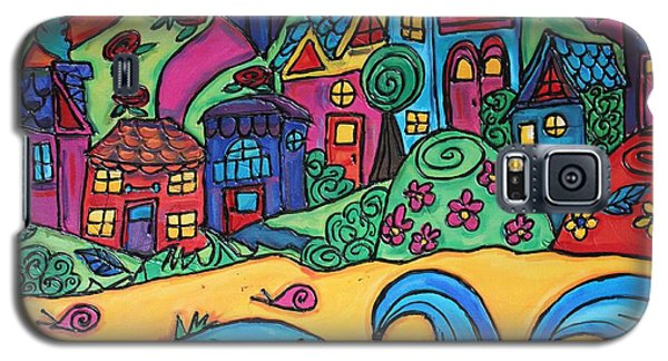 Galaxy S5 Case featuring the painting Whimsical Town Sectional  by Cynthia Snyder