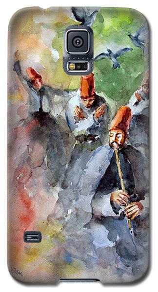 Galaxy S5 Case featuring the painting Whirling Dervishes And Pigeons         by Faruk Koksal