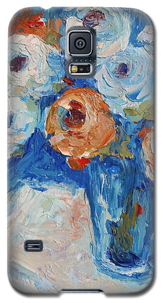 Galaxy S5 Case featuring the painting White And Orange Roses In A Sea Of Blue by Thomas Bertram POOLE