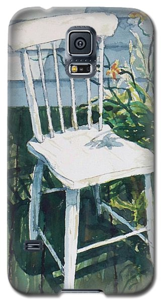 Galaxy S5 Case featuring the painting White Chair And Day Lilies by Joy Nichols