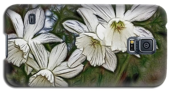 Galaxy S5 Case featuring the digital art White Daffodil Flowers by Photographic Art by Russel Ray Photos