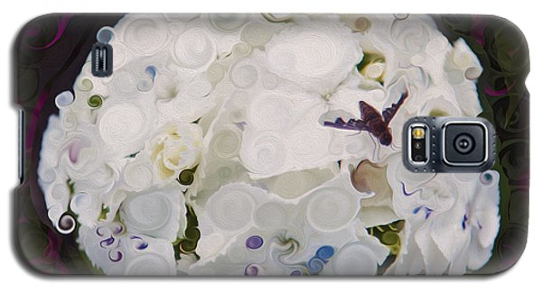 White Flower And Friendly Bee Mixed Media Painting Galaxy S5 Case
