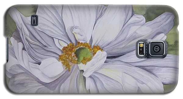 Galaxy S5 Case featuring the painting White Flower Companion by Teresa Beyer