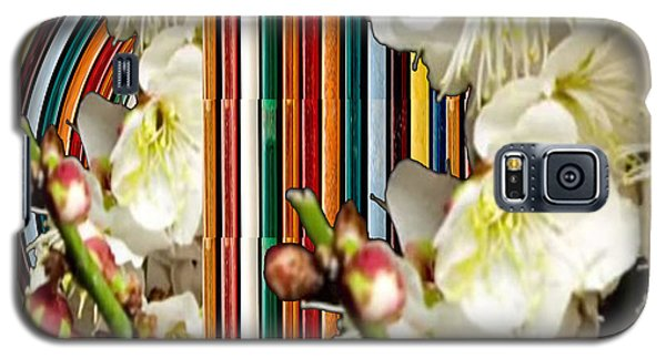 White Flower Medley Colorful Rainbow Stripes On The Backdrop Artist Navinjoshi  Galaxy S5 Case by Navin Joshi