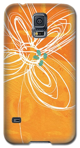 White Flower On Orange Galaxy S5 Case